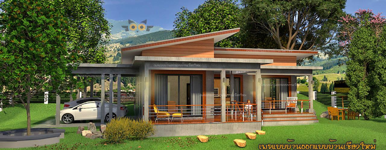 บ้านพักอาศัยชั้นเดียวผสมผสาน โดย แบบบ้านออกแบบบ้านเชียงใหม่ ผสมผสาน
