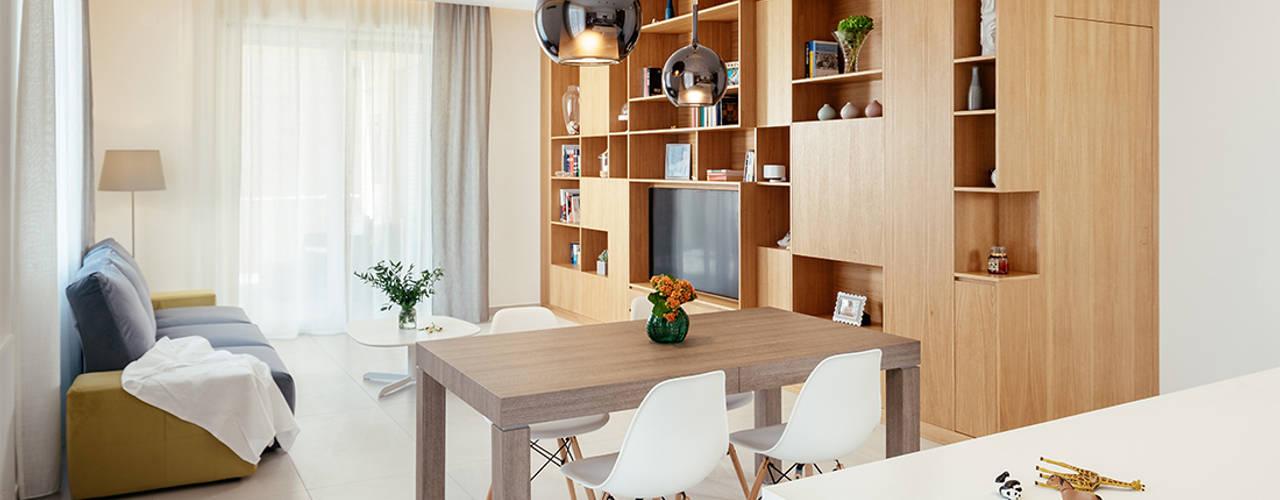 manuarino architettura design comunicazione Nowoczesny salon Drewno