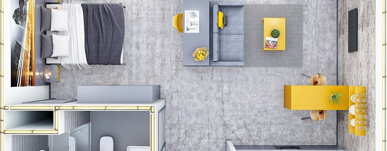 New Studio Apartment CRISP3D Cuartos de estilo moderno Ladrillos Amarillo