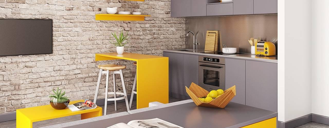 New Studio Apartment CRISP3D Dormitorios modernos: Ideas, imágenes y decoración Ladrillos Amarillo