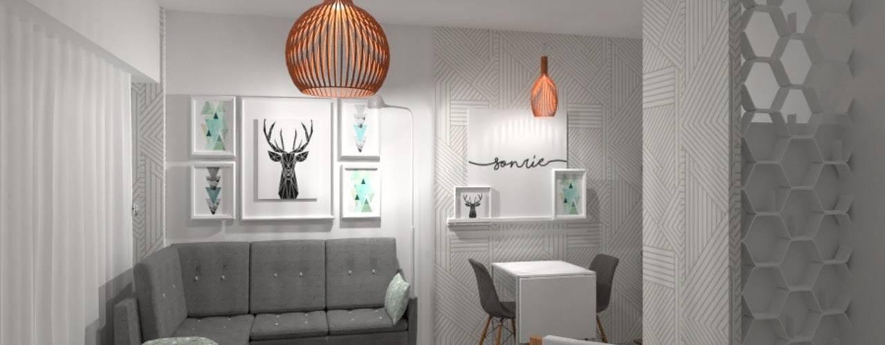 Diseño de Interior de Monoambiente por 3G Arquimundo: Livings de estilo  por Arquimundo 3g - Diseño de Interiores - Ciudad de Buenos Aires,Escandinavo