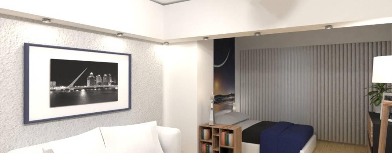 Interiorismo de un Monoambiente en Palermo por 3G Arquimundo: Livings de estilo  por Arquimundo 3g - Diseño de Interiores - Ciudad de Buenos Aires