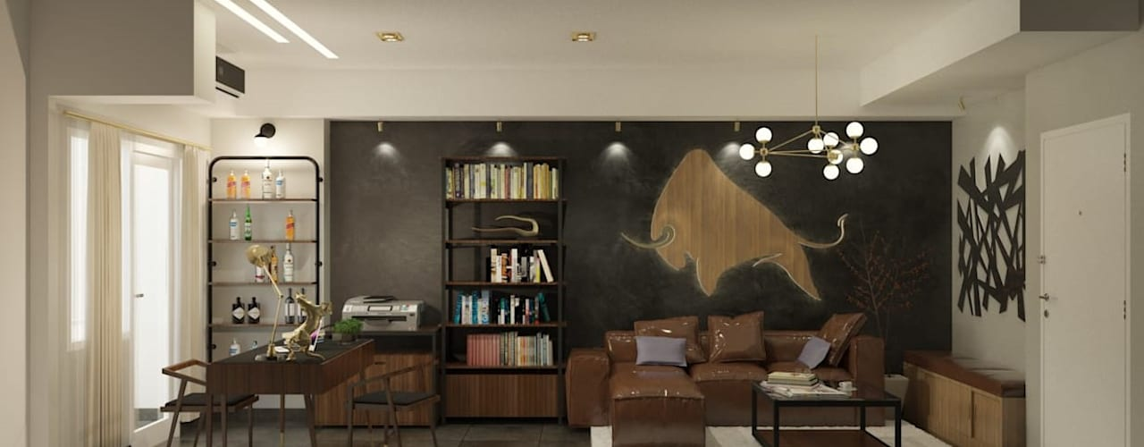 LUXURIOUS MASCULINE APARTMENT @ SEASON CITY, WEST JAKARTA:  Ruang Keluarga by PT. Dekorasi Hunian Indonesia (DHI)