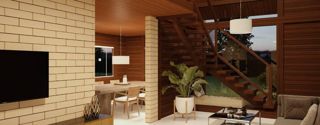 Casa de Madeira Pré Fabricada em Belo Horizonte MG por Castor Casa de Madeira Pre fabricada em Belo Horizonte MG Rústico