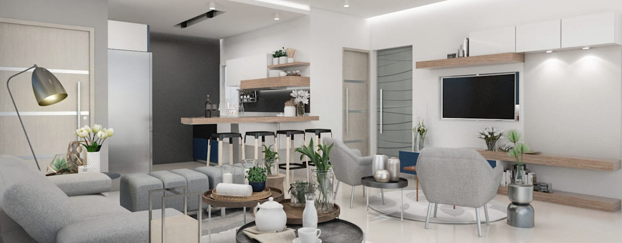 Diseño y decoración de apartamento nuevo Livings de estilo moderno de Cindy Castañeda Moderno