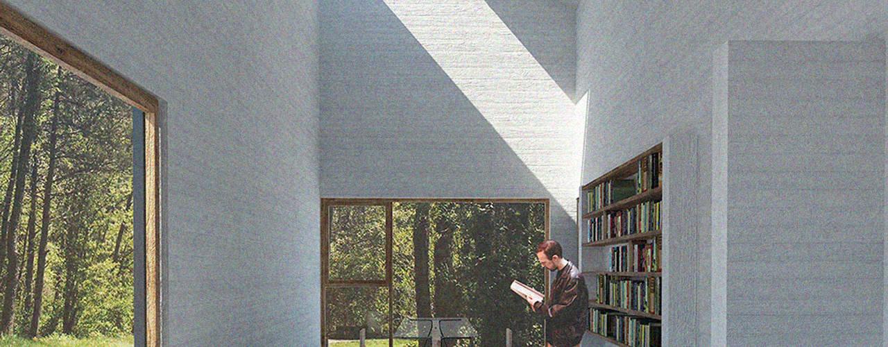 Refugio en medio de un bosque: Livings de estilo  por mutarestudio Arquitectura
