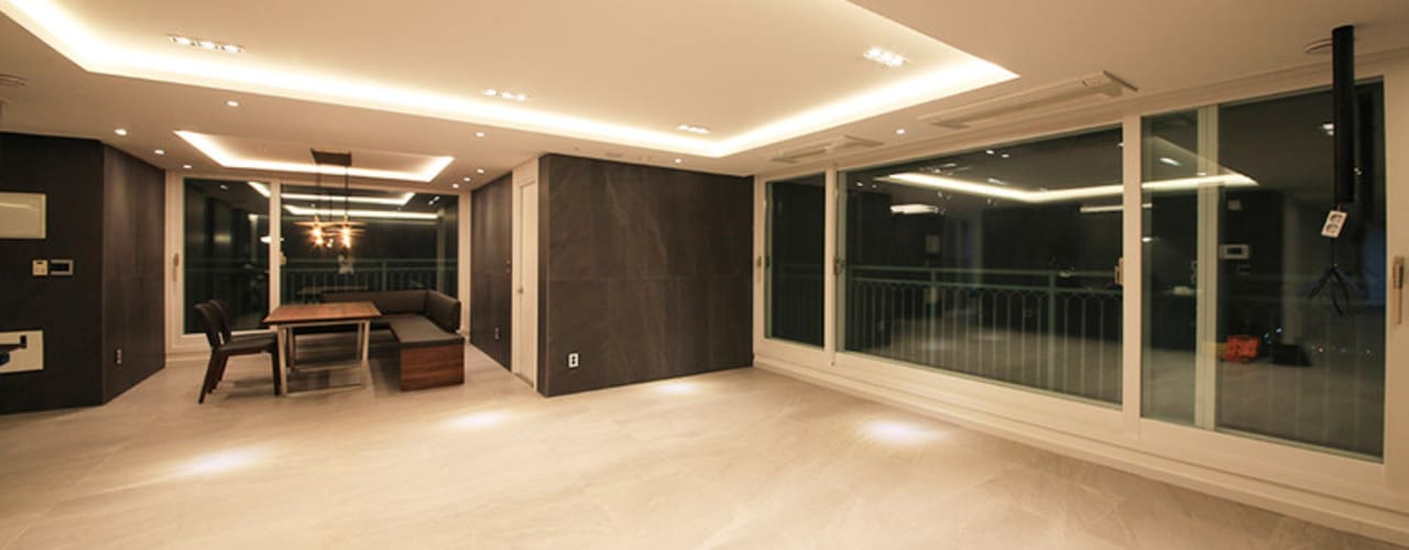 [61py] 부산 화명동 롯데캐슬 카이저 61평형 인테리어: 스테이 모던 (Stay Modern)의  거실