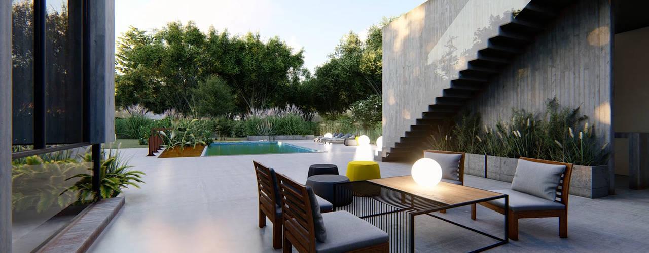 VIVIENDA UNIFAMILIAR Lomas de City Bell #251: Terrazas de estilo  por Arq Olivares,Moderno