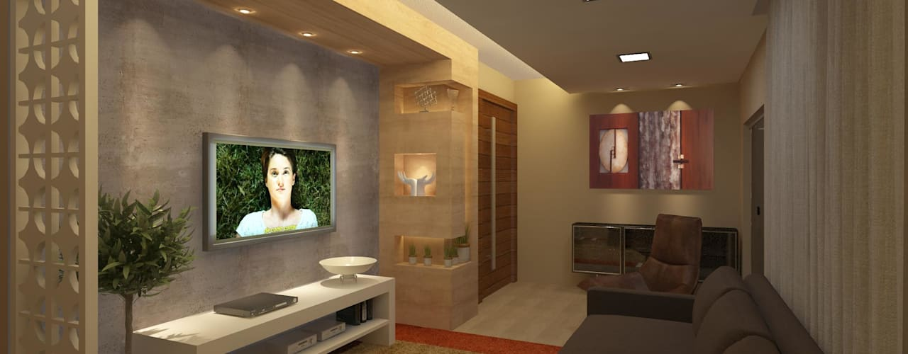 Estar e TV: Salas de estar  por Júlio Padilha Fabiani - Arquiteto