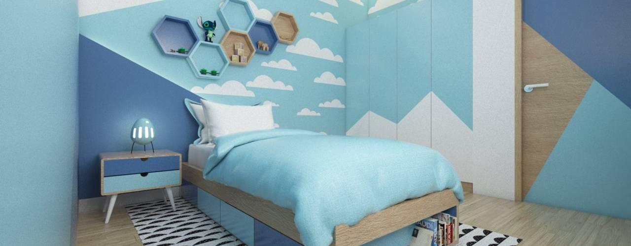 viku Camera da letto moderna Legno Blu