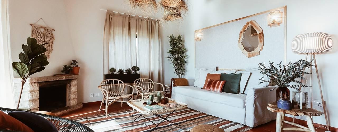 Rafaela Fraga Brás Design de Interiores & Homestyling Salon rustique Bois Effet bois
