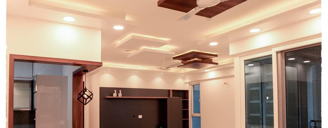 Ms. Rakshita Bafna's Residence, Shapoorji Pallonji Parkwest, Bangalore Modern living room by U and I Designs Modern