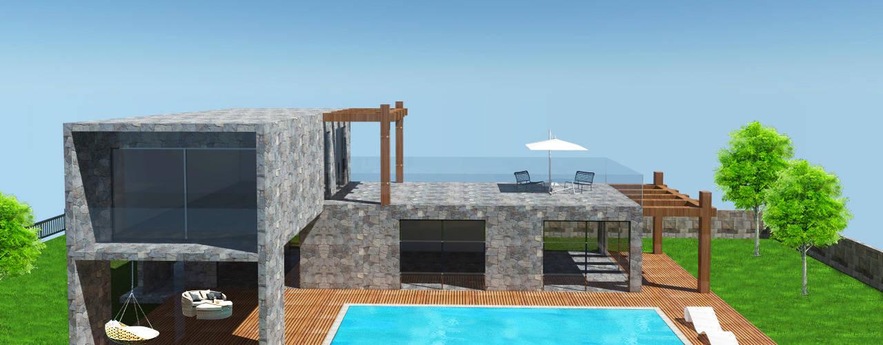 SKY İç Mimarlık & Mimarlık Tasarım Stüdyosu – Dış Mekan Tasarımlarımız:  tarz Villa