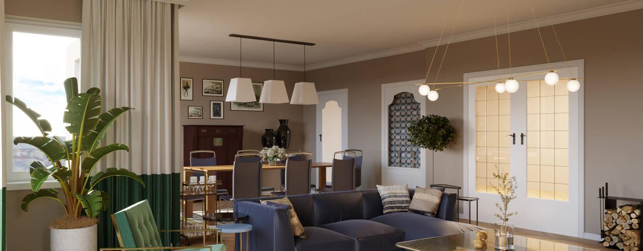 Diseño interior de un salón y comedor Isabel Gomez Interiors Salones de estilo ecléctico Ámbar/Dorado