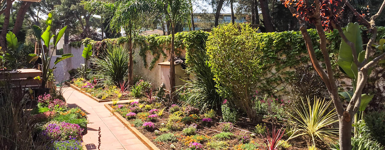 Tropical style garden by Nosaltres Toquem Fusta S.L. Tropical