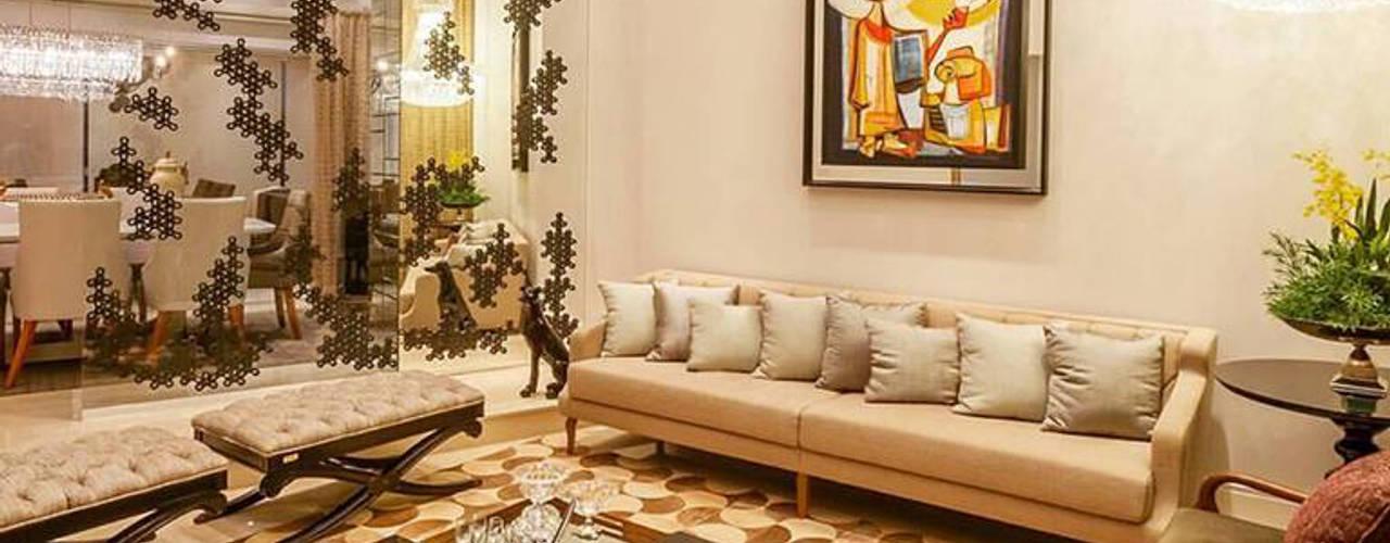 Sala de Estar Ampla e Sofisticada: Salas de estar  por Estúdio de Arquitetura Luciana Zamecki