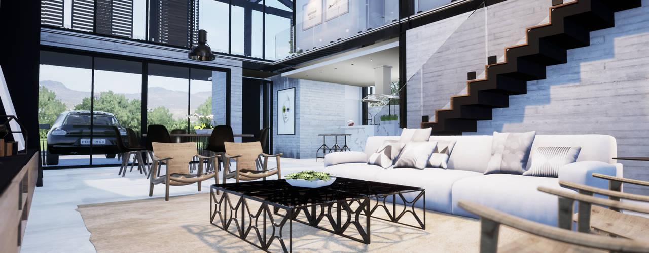 Projeto Casa em Estrutura Metálica | Casa SUEL | RJ Gelker Ribeiro Arquitetura | Arquiteto Rio de Janeiro Salas de estar industriais Concreto Cinza