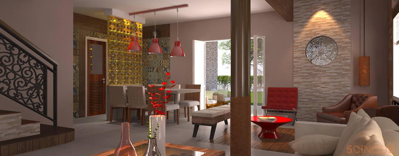 Salas / recibidores de estilo  por 5CINQUE ARQUITETURA LTDA