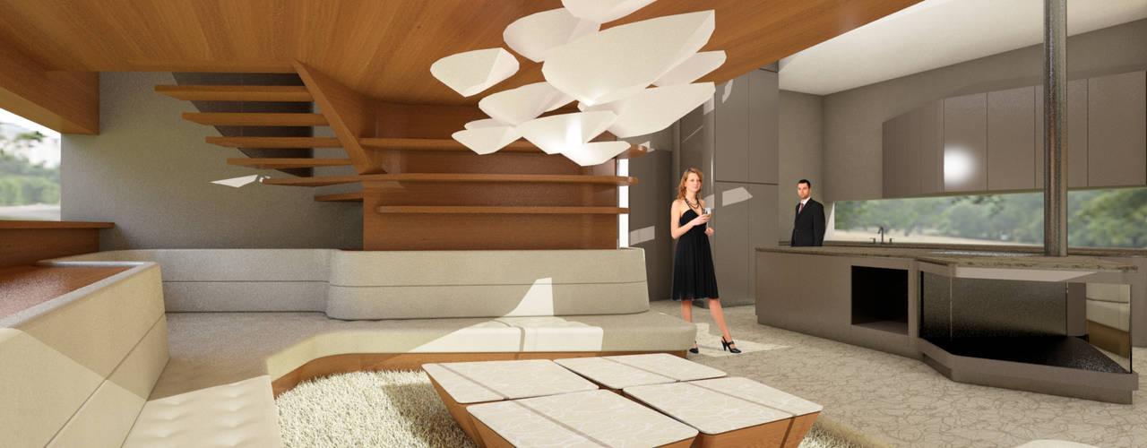 Die Arbeitsweise von archipur - am Beispiel Luxury Residence archipur Architekten aus Wien WohnzimmerBeleuchtung Naturfaser Weiß