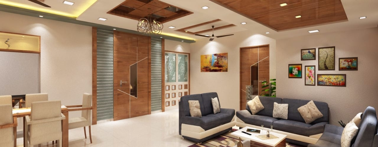 Sudhir Zaware's Residence interior Minimalist style doors by Square 4 Design & Build Minimalist