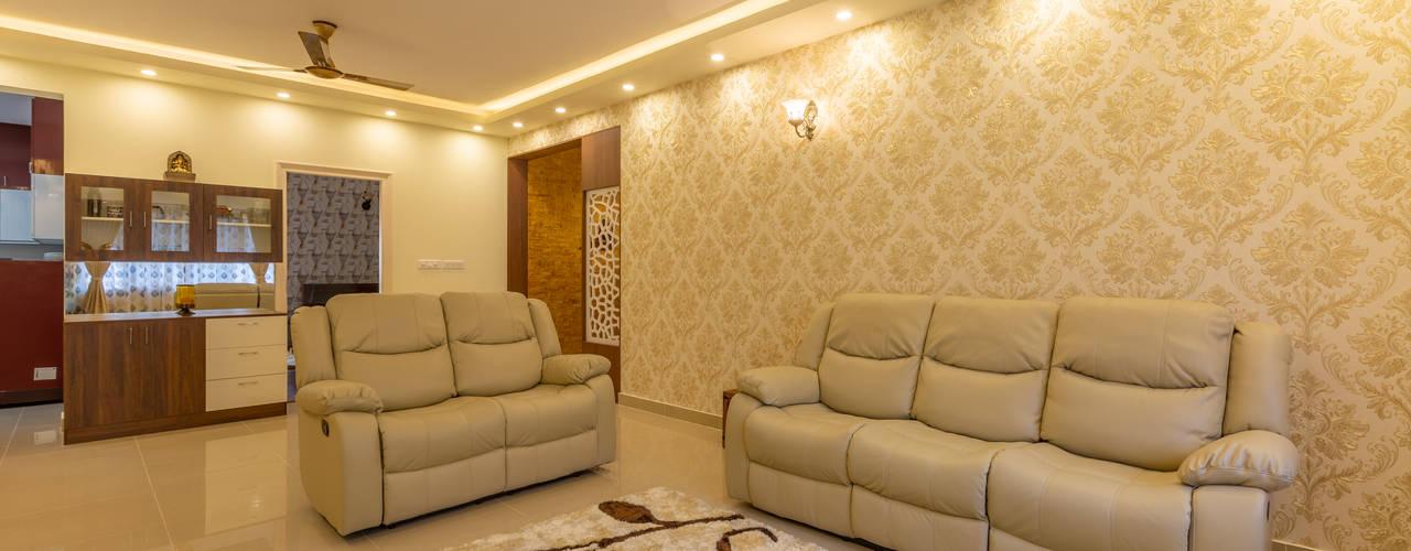 Valmark Aastha, 3 BHK - Mr. Anup & Ms. Harshitha Modern living room by DECOR DREAMS Modern