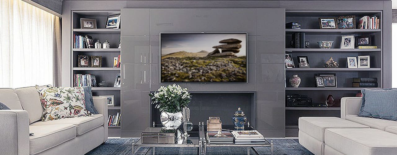 Apartamento decorado: Salas de estar  por Anne Báril Arquitetura,