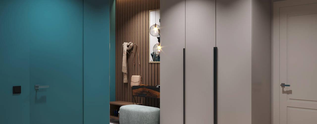Прихожая с элементами современного Арт-деко DesignNika Коридор, прихожая и лестница в скандинавском стиле