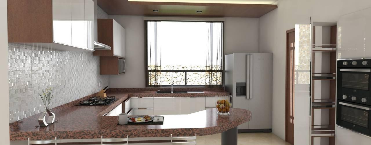 Renders Casa JLA: Cocinas de estilo  por DISARQ ARQUITECTOS., Moderno