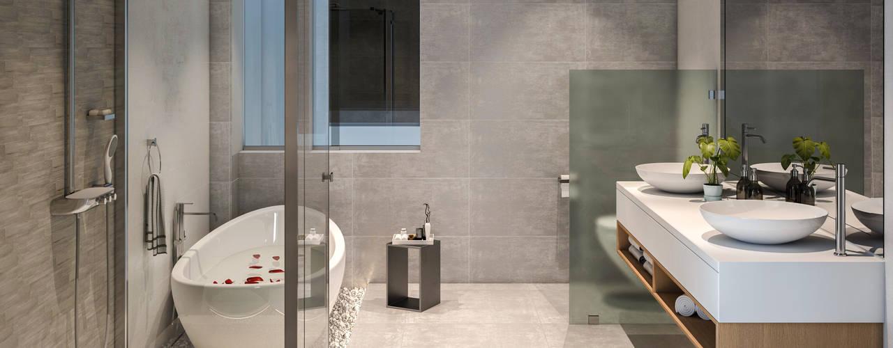 VILLA ROSA TORO Studio17-Arquitectura Baños de estilo minimalista