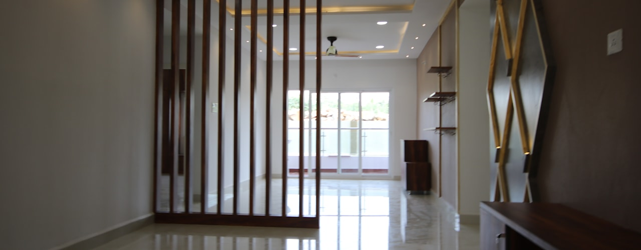 Mr Lidhin & Sona - Greenspace Hyve - 3BHK - Hyderabad:  Living room by Enrich Interiors & Decors,Rustic