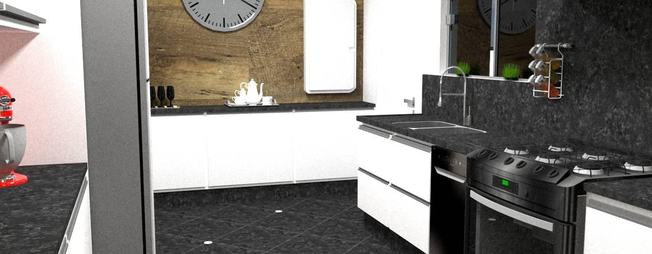 cozinha de escritório - Casa Comercial: Armários e bancadas de cozinha  por Silvana Lima e UrbanaDI,Moderno