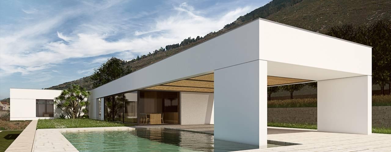 C | U Villa – Termini Imerese Piscinas de estilo moderno de ALESSIO LO BELLO ARCHITETTO a Palermo Moderno