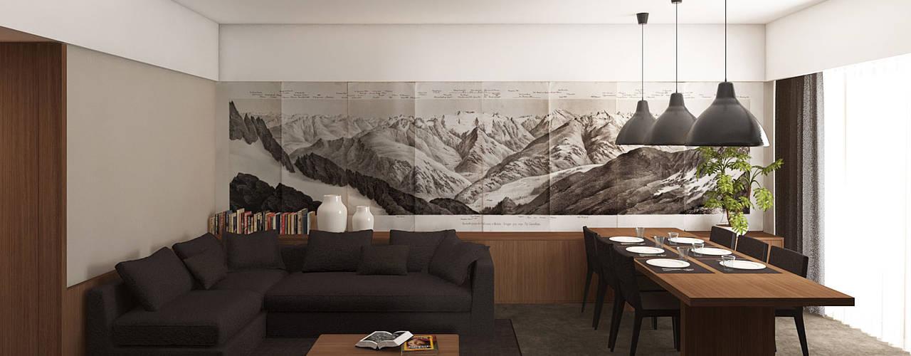 Appartamento C|S - Corleone: Soggiorno in stile  di ALESSIO LO BELLO ARCHITETTO a Palermo,