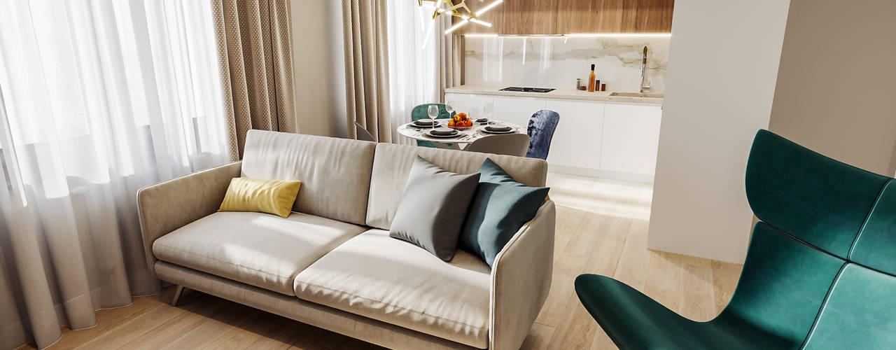 Квартира 60 кв.м. в современном стиле в ЖК Савёловский Сити. Студия архитектуры и дизайна Дарьи Ельниковой Гостиная в стиле минимализм