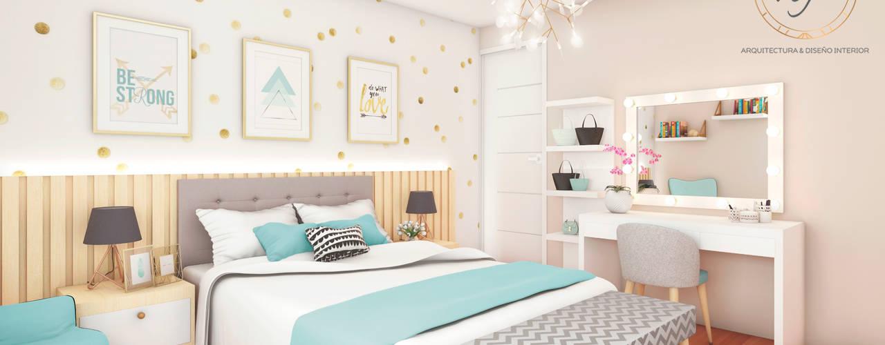PROYECTO RESIDENCIAL - Dormitorio Jovencita de NF Diseño de Interiores Escandinavo