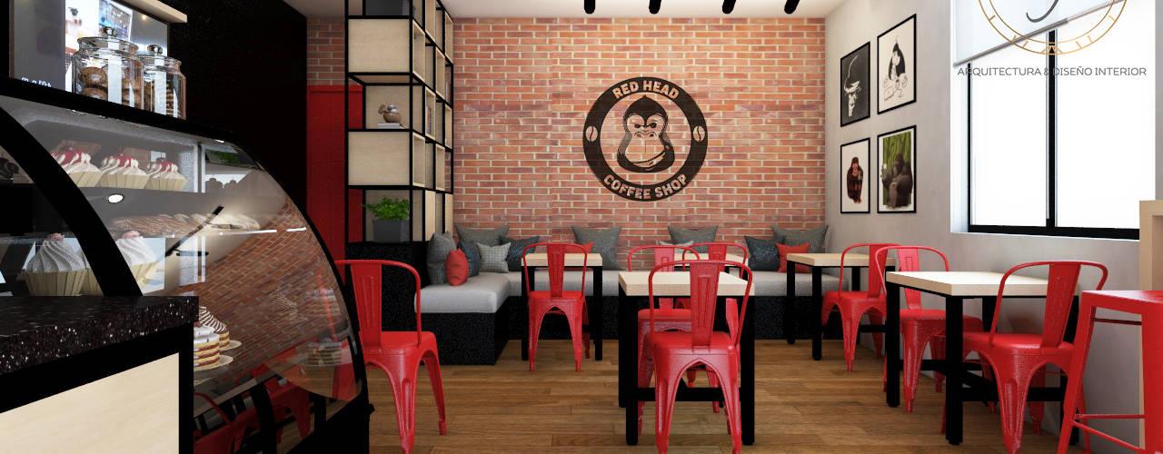 PROYECTO CAFETERIA RED HEAD COFFEE SHOP : Restaurantes de estilo  por NF Diseño de Interiores , Industrial