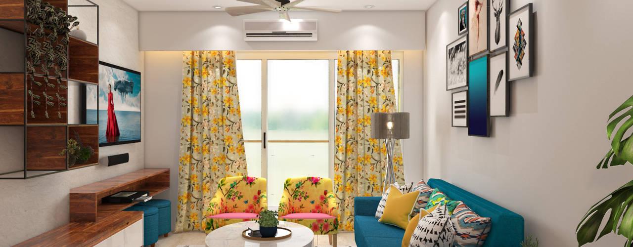 Mid-Century Modern Living Room:  Living room by The Cobblestone Studio