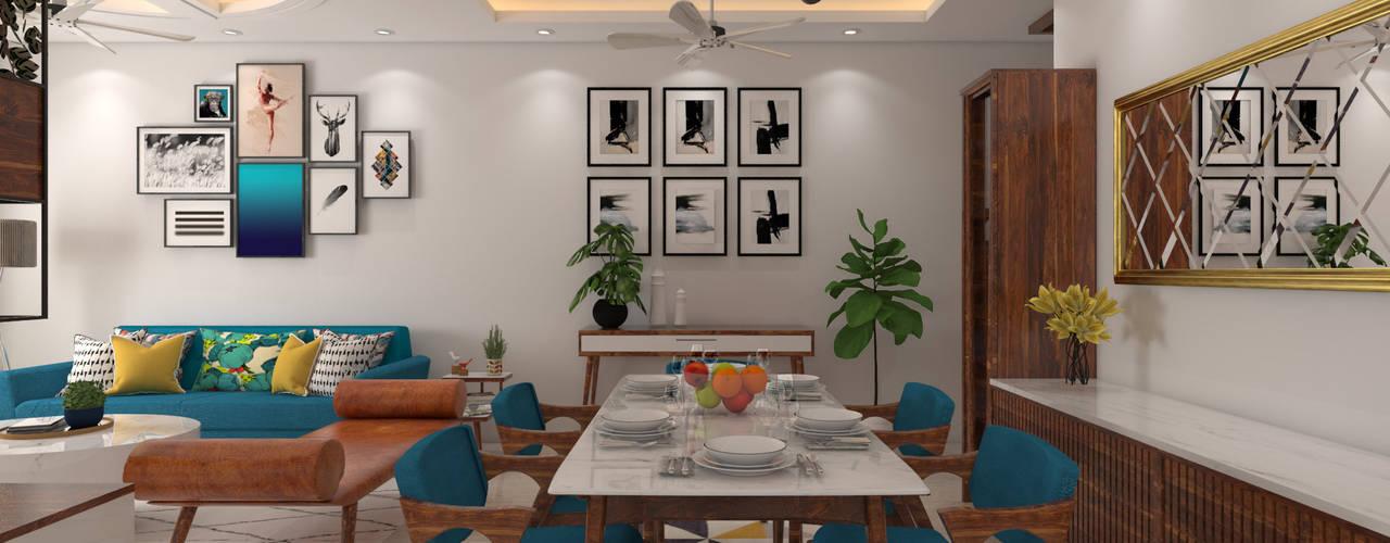 Mid-Century Modern Living Room:  Dining room by The Cobblestone Studio,Modern