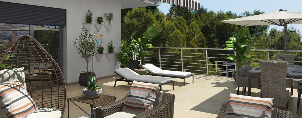 Cómo decorar tu espacio exterior :  de estilo  de Glancing EYE - Asesoramiento y decoración en diseños 3D