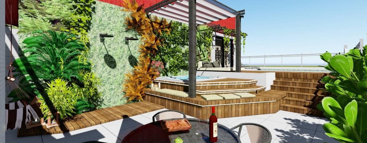 Apartamento de Cobertura com Terraço Varandas, alpendres e terraços modernos por Joana Rezende Arquitetura e Arte Moderno