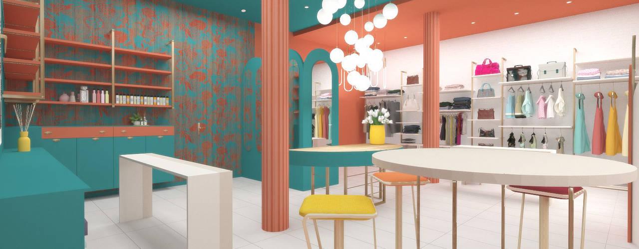 Concept Store Donna serenascaioli_progettidinterni Negozi & Locali commerciali moderni Turchese