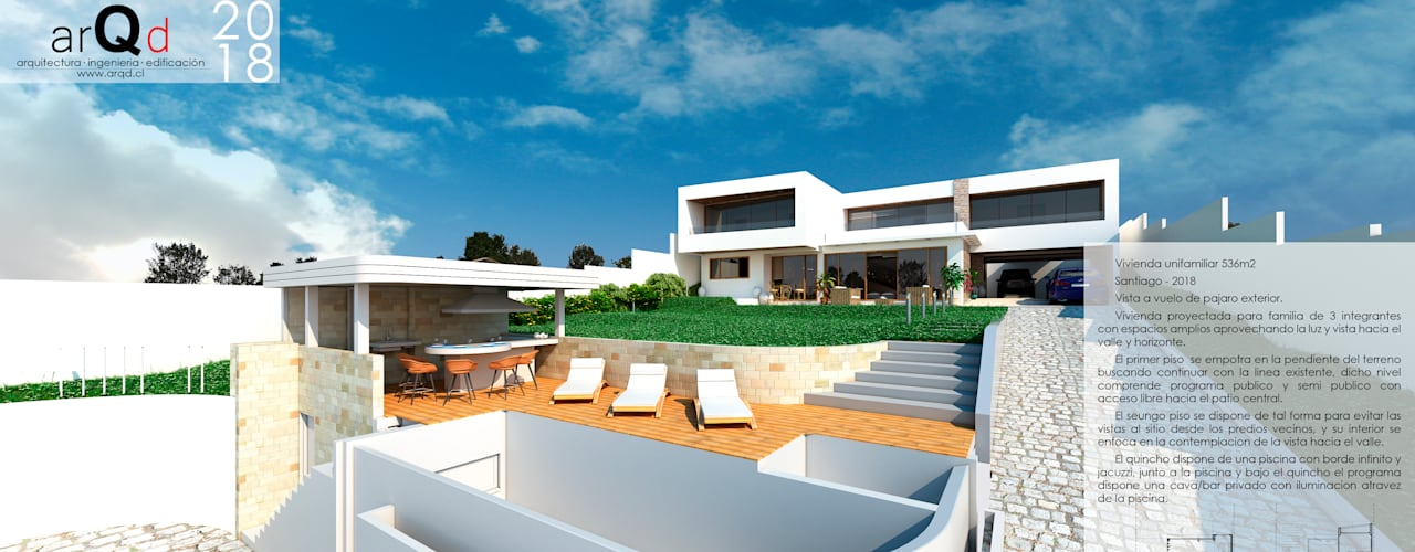 Diseño casa Santiago de ARQD spa Mediterráneo