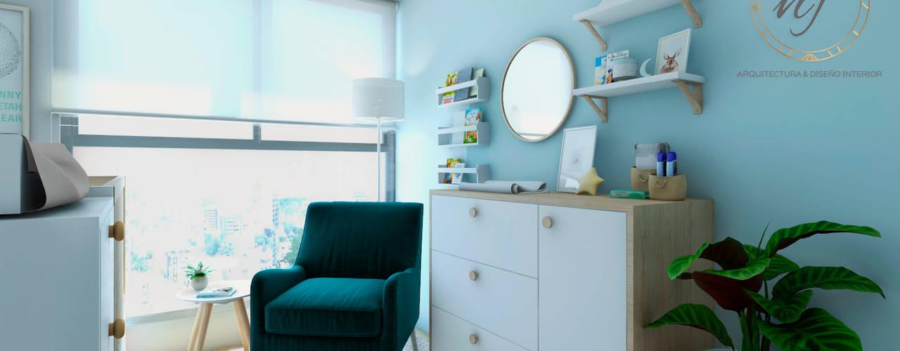PROYECTO DORMITORIO BEBE LINCE LE SAULE de NF Diseño de Interiores Escandinavo
