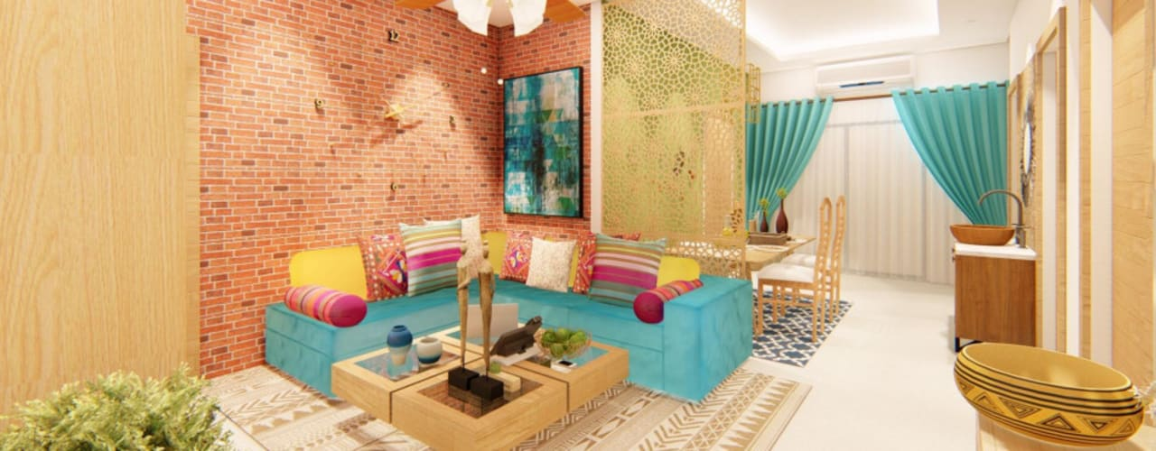 Bohemian Styled Premium Interiors for a 3 BHK at Bangalore:  Corridor & hallway by Aikaa Designs,