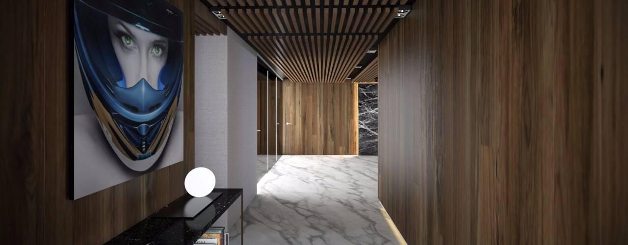 Proyecto Departamento: Pasillos y recibidores de estilo  por FM ARQUITECTOS