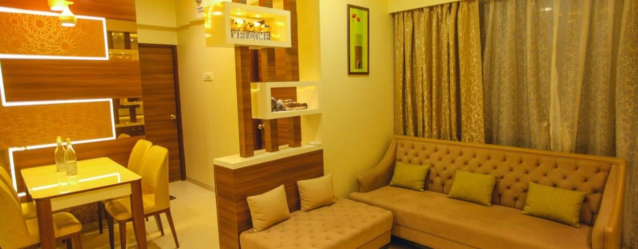 2 BHK home in Thakurli, Mumbai :  Living room by Square 4 Design & Build,