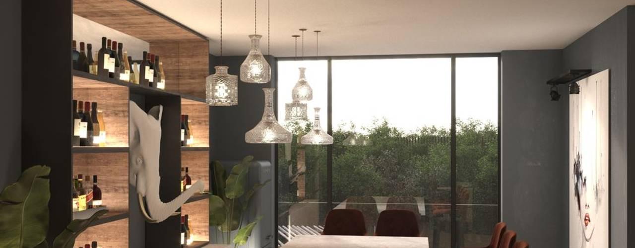Diseño conceptual de zona de bar para un conocido DJ's: Electrónica de estilo  de Stockholm Barcelona Design - Interioristas en Barcelona