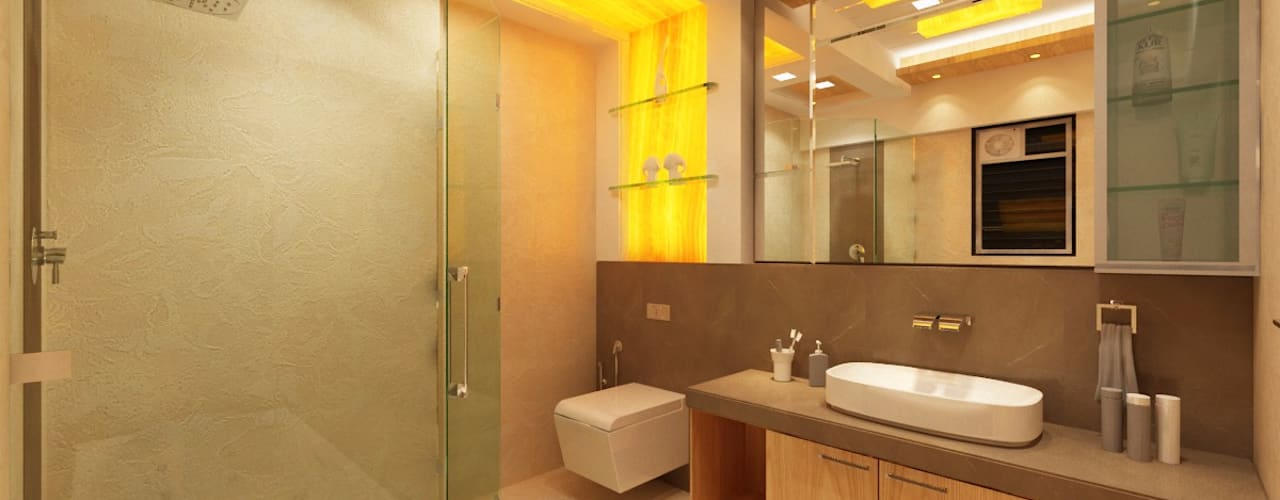 3BHK home design at Lodha in Thane, Mumbai :  Bathroom by Square 4 Design & Build,