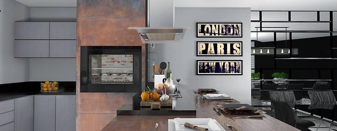 Área Gourmet: Armários e bancadas de cozinha  por Projeto 3D Online,Moderno