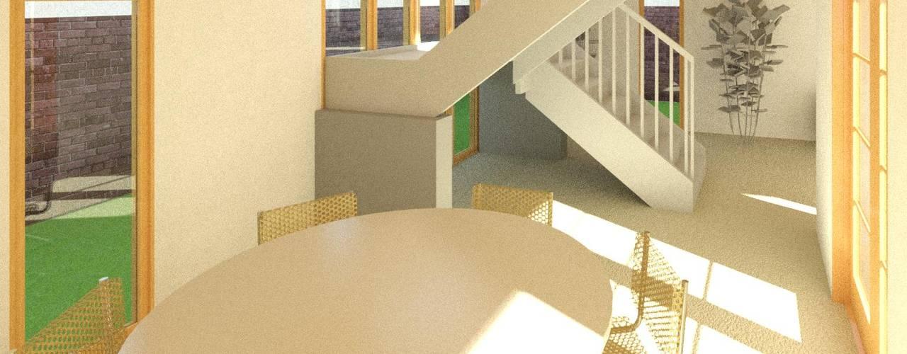 Diseño y presupuesto casa La herradura - Coquimbo 96 m2 Comedores de estilo mediterráneo de Constructora Alonso Spa Mediterráneo